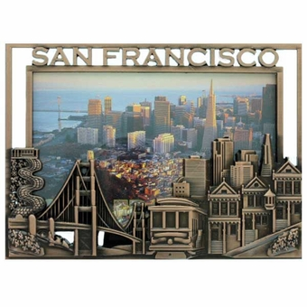 San Francisco Skyline Picture Frame 3D Design in Copper Color