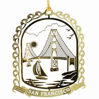 San Francisco Solid Brass Bridge Ornament