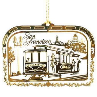 San Francisco Solid Brass Cable Car Ornament