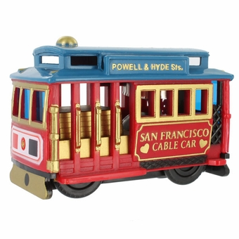 San Francisco Souvenir Cable Car Friction Toy Red Car with Blue Top