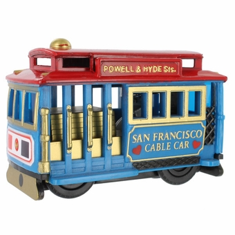 San Francisco Souvenir Cable Car Friction Toy Blue Car with Red Top