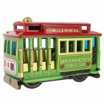 San Francisco Souvenir Cable Car Friction Toy Green Car with Red Top