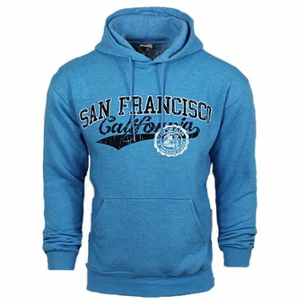 San Francisco Swoosh Hoodie Sweatshirt Polar Fleece Heather Sky Blue Adult Unisex