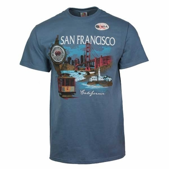 San Francisco Souvenir Collage Wharf T-shirt Adult Unisex Lake Blue Color