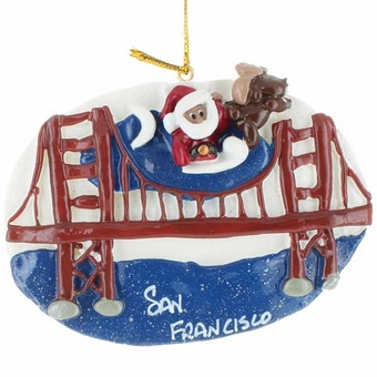 Santa on San Francisco  Golden Gate Bridge Ornament