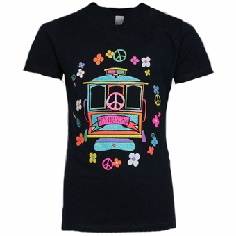 San Francisco Souvenir Kids T Shirt Cable Car Rainbow Design Purple Color