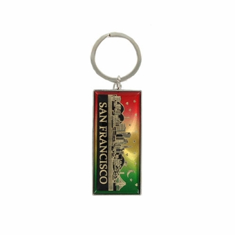 Starry Night Skyline Key Chain