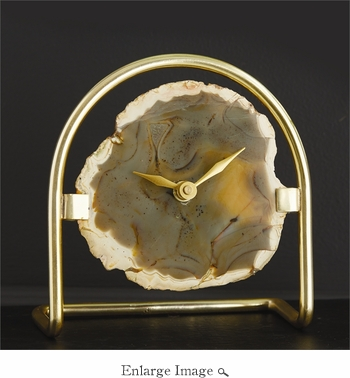 Agate Table Clock with Gold Stand