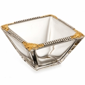Alan Lee Imperial Collection Filigree 4 Inch Square Bowl Brass