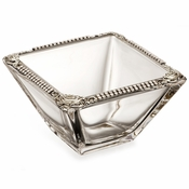 Alan Lee Imperial Collection Filigree 4 Inch Square Bowl Silver