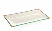 Alan Lee Imperial Collection Filigree Glass Rectangular 8 X 14 Tray Brass