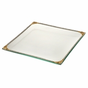 Alan Lee Imperial Collection Filigree Glass Square 9 X 9 Tray Brass