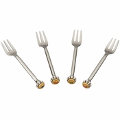Alan Lee Imperial Collection Filigree Hors D'Oeuvres Forks (Set Of Four) Brass