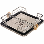 Alan Lee Imperial Collection Filigree Napkin Holder Brass With Silver Stone