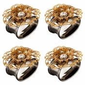 Alan Lee Imperial Collection Filigree Oval Stainless Steel Napkin Rings (Set Of Four) Brass