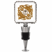 Alan Lee Imperial Collection Filigree Square Crystal Wine Stopper Brass