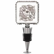 Alan Lee Imperial Collection Filigree Square Crystal Wine Stopper Silver