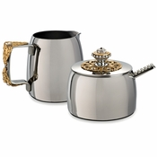 Alan Lee Imperial Collection Filigree Sugar And Creamer Set Brass