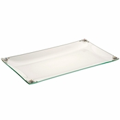 Alan Lee Imperial Collection Glass Filigree Lotus Flower Rectangular 8 X 14 Tray Silver Multi