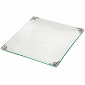 Alan Lee Imperial Collection Glass Filigree Lotus Flower Rectangular 9 X 9 Tray Silver Multi