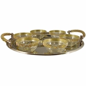 Alan Lee Princess Collection Contemporary Seder Plate With Bowls Gold