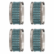 Alan Lee Princess Collection Oval Stainless Steel Napkin Rings Set Of Four Crystal Ice