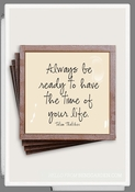 Always Be Ready Copper & Glass Coasters 4 Pc Set