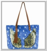 Denim Tote with Gold Sequin Wings - CLOSEOUT