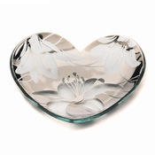 Annieglass 2017 Tiger Lily Collectible Heart Plate Platinum