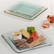 Annieglass Edgey Small Square Platter Gold