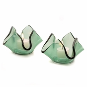 Annieglass Handkerchief Votive Translucent Green