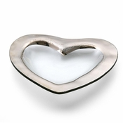 Annieglass Heart Medium Bowl Platinum
