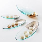Annieglass Mod Large Oval Stacking Server Gold