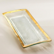 Annieglass Roman Antique Appetizer Tray Gold