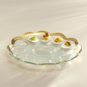 Annieglass Roman Antique Deviled Egg Platter Gold