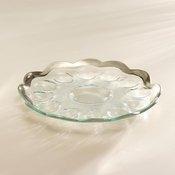 Annieglass Roman Antique Deviled Egg Platter Platinum