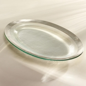 Annieglass Roman Antique Large Oval Platter Platinum