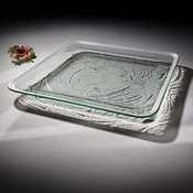 Annieglass Roman Antique Large Square Tray Platinum
