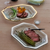 Annieglass Roman Antique Large Steak Platter Gold
