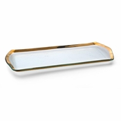 Annieglass Roman Antique Oblong Pastry Tray Gold