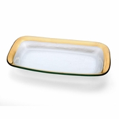 Annieglass Roman Antique Rectangle Asparagus Bowl Gold