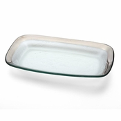 Annieglass Roman Antique Rectangle Asparagus Bowl Platinum