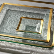 Annieglass Roman Antique Small Square Dish Gold