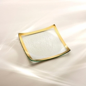 Annieglass Roman Antique Square Plate Platinum