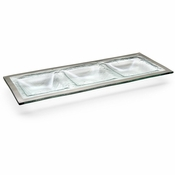 Annieglass Roman Antique Three-Section Tray Platinum