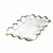 Annieglass Ruffle Bread Basket Platinum