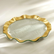 Annieglass Ruffle Dinner Plate Gold