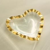Annieglass Ruffle Heart Bowl Gold