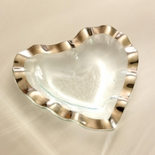 Annieglass Ruffle Heart Bowl Platinum