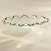 Annieglass Ruffle Oval Serving Bowl Platinum